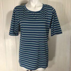 LulaRoe Women's Blue Green Striped Top XL S/S